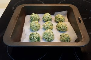 Haloumi balls ready to be baked
