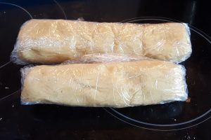 Parmesan oatcake sausages ready for the freezer